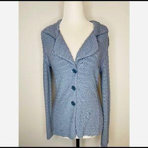 Armani Collezioni Blue Fitted Button down Sweater